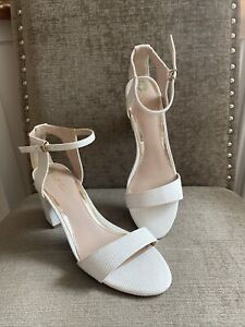 Carvela White Leather Block Heel Sandals Size Uk 6