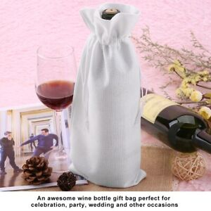 12pcs Simple Linen Fabric Wine Bag With Drawstring Champagne Decorative Cov New