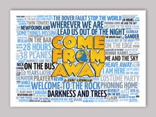 Come From Away Musical Poster, Quotes, Lyrics, Wall Art, Poster