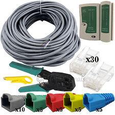 30M Cat5 Ethernet PC Laptop Internet RJ45 Cable Tester Crimper Connectors Boots