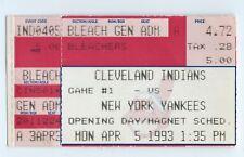 Opening Day, Danny Tartabull home run stub; Yankees at Indians 4/5/1993
