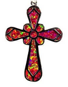 """Silver 925 SF Pendant Red Lab Fire Opal Large 1 1/2""""  CROSS"""