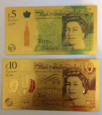 RESTRIKE X2 24k Gold Plated £5 £10 Bank Note 5 Pounds Aa01 New Rare Error