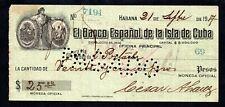 1917 BANCO ESPAÑOL, CHEQUE PAGADO