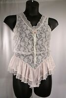 "Vtg Tosca Soft Pink Lace Teddy ""Easy Access Gusset"" /100% Nylon/ Sz S /Pre-Owned"