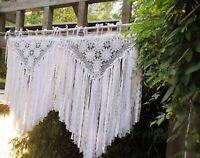 Victorian~BOHO Shabby Crochet Curtain Wall Hanging Wedding Party Backdrop~White~