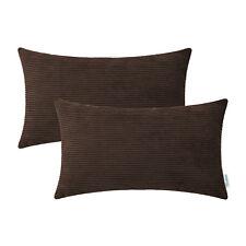 "2Pcs Coffee Pillow Covers Cases Shells Home Decor Corduroy Stripe Decor 12x20"""