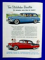 1955 Studebaker Station Wagon & Sedan Original Print Ad-8.5 x 11""