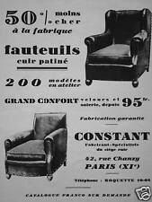PUBLICITÉ FAUTEUILS CUIR PATINÉ - CONSTANT FABRICANT DE SIÈGE CUIR PARIS