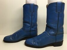 WOMENS JUSTIN WESTERN ROPER LEATHER BLUE BOOTS SIZE 5.5 B