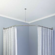 Naiture Neo-Angle Stainless Steel/Aluminum Shower Rod with Ceiling Support