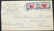 US Airmail envelope Fort Worth PATRIOTIC EAGLE pair 6c USA lettera Lupo (h-10950