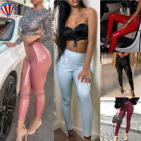 Womens Sexy PVC Leather High Waist Pu Leggings Wet Look Stretch Trousers Pants