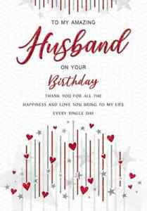 """To My Amazing Husband on Your Birthday Card. Large 9"""" x 6""""."""