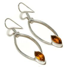 silver plated Handmade Dangle Earrings Faceted Beer Quartz Marquise Gemstone