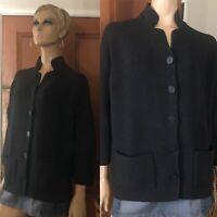 Margaret O'leary Black Cardigan Wool Nylon Blend Cardigan Sweater - Size L