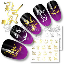 Halloween Nails Water Nail Decals Stickers Transfers Gold/Silver Witch Cat C048