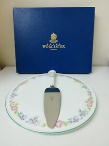 Royal Worcester English Garden Cake Plate Stand 28.5cm & Cake Slice in Box