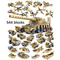 Army Military Crafts 16-in 1 Tank Aircraft Building Blocks Toys Set kid gift