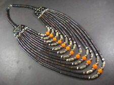 N5302 TIBETAN Massive Multi Strand Amber Resin Bone Runway TRIBAL Long NECKLACE