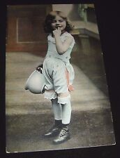 Girl Holding Chamber Pot Old Color Postcard