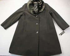 JONES New York Womens Black Faux Fur Wool Blend Heavy Winter Jacket Coat NWT  3X
