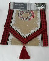 MIDDLETON HOME HOLIDAY TAPESTRY Table Runner Christmas Wreath Pattern - New