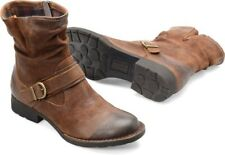 Born Virgo In Tobacco Distressed Leather Buckle Side Zip Ankle Boots Size 8.5