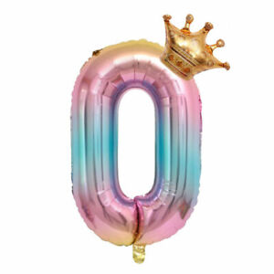 "16""/32"" Crown Number Foil Ballon Baby Shower Digit Ballon Birthday Party Decor B"