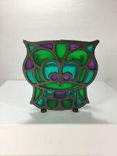 Tiffany Style Stained Glass Owl Letter ,mail , Paper Holder Made In Japan
