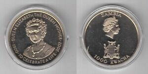 ZAMBIA PROOFLIKE 1000 KWACHA UNC COIN 2003 YEAR KM#171 QUEEN MOTHER