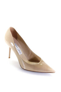 Jimmy Choo Womens Patent Leather Pointed Toe Pumps Beige Size 38 8