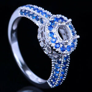10K White Gold Oval 6x4mm Pave 0.6ct Diamonds & Sapphires Semi Mount Ring