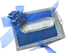 Mis Quince Anos Guest Book with Blue Rose Design with Pen Choose Color