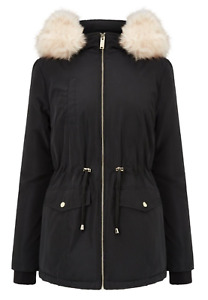 MISS SELFRIDGE MEMORY SHELL PARKA JACKET COAT - BLACK - UK 8 10 12 14 - RRP £65