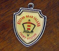 Vintage silver HILTON HEAD ISLAND LIGHT STATION SOUTH CAROLINA SHIELD charm #E14