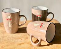 3 x 300 ml Kaffeetasse Kaffeebecher Becher Keramik Kaffee Mug Katze braun 31634