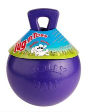 Jolly Pets Tug-N-Toss 6 inch Purple | Rubber Ball with Handle Chew Toy for Dogs