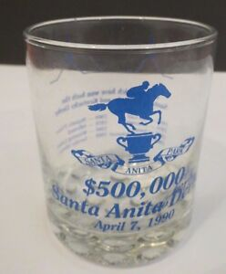 SANTA ANITA DERBY $500,000 GLASS/TUMBLER~APRIL 1990~Winners 1952-1989~1 or ALL