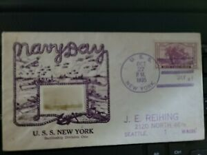 USS NEW YORK BB-34  LETTER POST MARKED OCT 27 1935 FROM NAVY DAY  W/ PIC OF SHIP