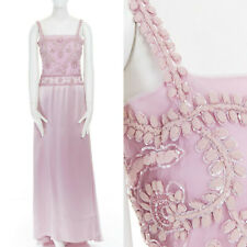 VALENTINO silk pastel purple sequins bead embellished mesh overlay gown dress M