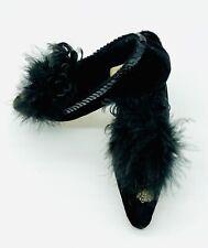 New listing Katherine's Collection Wayne M Kleski Pair of Black Velvet Shoes W/Ostrich