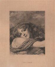 Jean Baptiste Greuze Rêve d'Amour Beauté Gravure Jacquemart Gravure XIXe