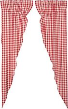 "84""L Country Red & White Buffalo Check Drawstring Prairie Curtains Lined Annie"