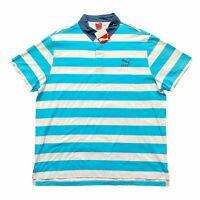Puma Mens Striped Cotton Short Sleeve Polo Shirt Blue White Size XXL 2XL NWT