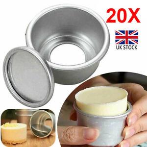 20Pcs 2'' Mini Cake Pan Removable Bottom Pudding Mold Baking Bakeware Mould UK
