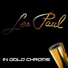 "2x Les Paul Guitars Decal Stickers 3.0"" x 1.2"" Metallic gold chrome logo Gibson"