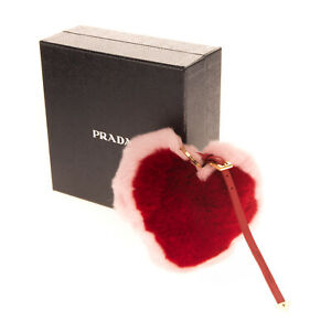 RRP €305 PRADA Rabbit Fur Heart Keyring Charm Adjustable Strap Made in Italy