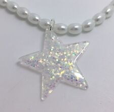 White Clear Star Iridescent Holo Glitter Pendant G117 Kitsch On Glass Pearl