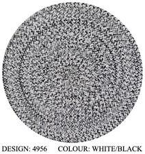 BLACK FLOWER MERINO BRAIDED NATURAL JUTE ROUND FLOOR RUG 220x220cm **NEW**